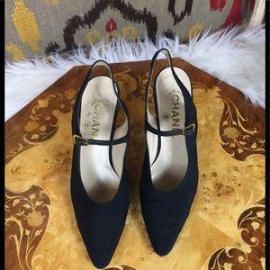 CHANEL Vintage Satin Fabric Slingback Heels
